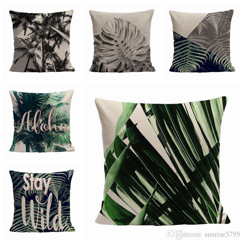 Etonnant Tropical Chaise Chair Throw Pillow Case New Palm Tree Cushion Cover Leaf  Leaves Decorative Pillows Case 45cm Dandelion Almofada Red Patio Cushions  Cheap ...