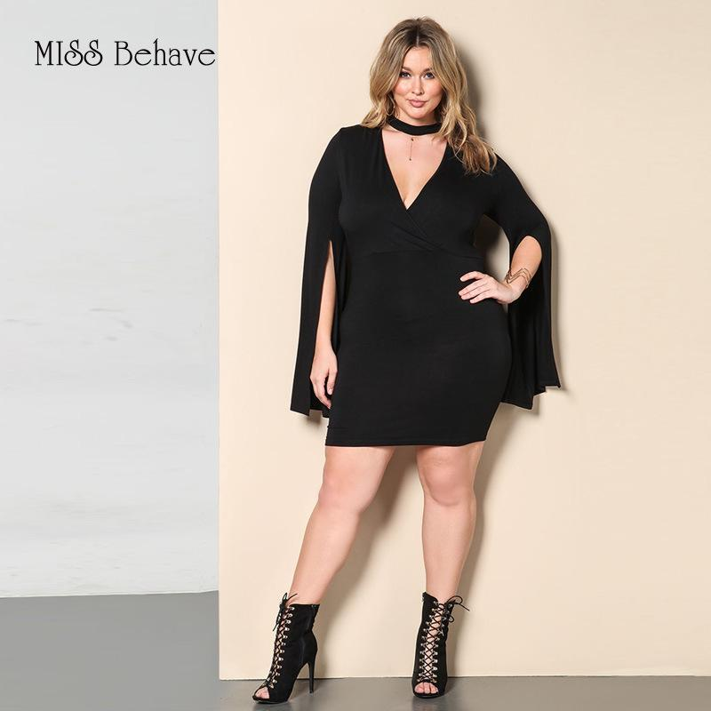e7c3fed5719 2019 MISS Behave Women S Dress Fashion Long Cloak Sleeves Sexy Loose Dress  Summer Deep V Neck Plus Size Casual Black Dresses From Kennethy