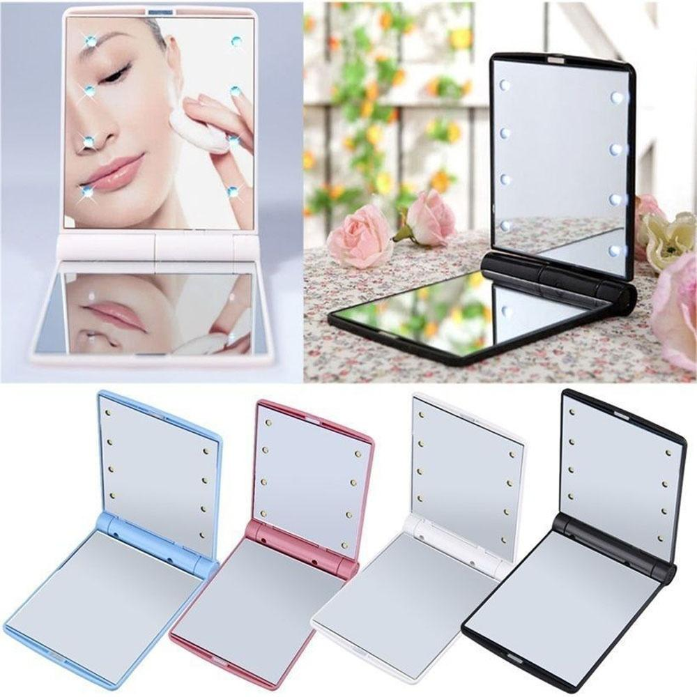 Fashion Women Foldable LED Makeup Mirrors Lady Cosmetic Hand Folding Portable Compact Pocket Mirror 8 LED Light Lamp Makeup Tool