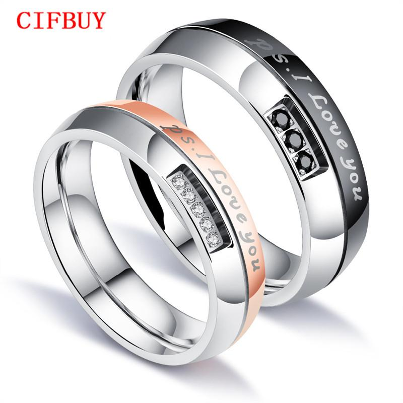 92236a0c0a 2019 Romantic I LOVE YOU Wedding Ring For Lovers Pave Cubic Zirconia Rose  Gold Color Steel Couples Engagement Bands Jewelry GJ544 From Cifbuy, ...