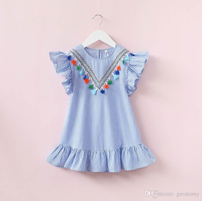 Fashion New Design Baby Girls Princess Dress Kids Girl Princess Dress  Summer Striped Short Sleeve Mini Dress with Tassels Pendant Baby Girls  Summer Dress ... 581249e4fddb