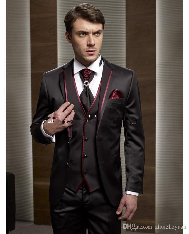 2018 New Fashion Brown Wedding Suits Red Notch Lapel Two Buttons ...