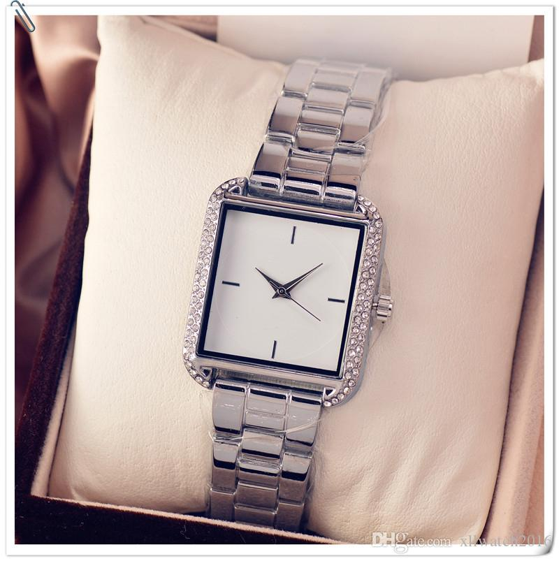 Hot Sale Silver Gold Watch Women Hot Sale Ladies Wristwatches Gifts Full Stainless Steel Rhinestone Quartz Watch