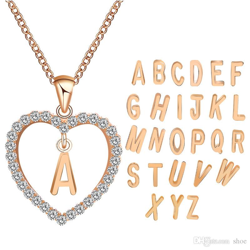 6012f6df8f Wholesale Rose Gold Color Heart Letters Alphabet Initial Rhinestone Love  Heart Statement Necklace Necklaces Pendants Couples Jewelry Gold Chains For  Men ...