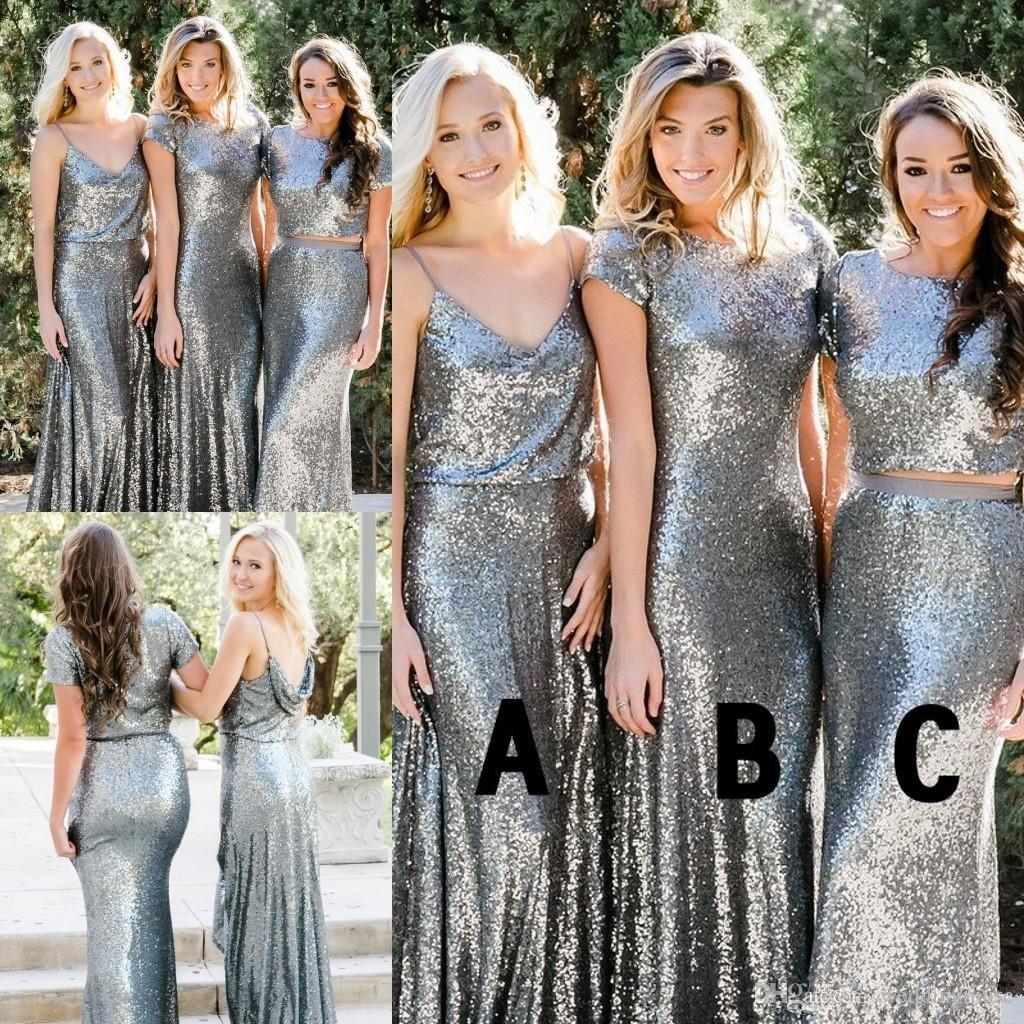 b58cfb7ebf Silver Sequined Bridesmaid Dresses Newest Country Style Two Pieces Mix and  Match Bridesmaid Dress Custom Made Wedding Guest Party Gowns