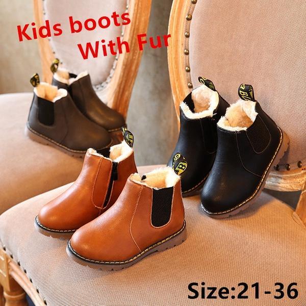 ec839113186a9f Großhandel Das Ganze Jahr 1 Paar Kinder Schuhe Kleinkind Jungen Mädchen Stiefel  Leder Martin Stiefel Kinder Solide Stiefel Mit Pelz Größe 21 36 Von ...