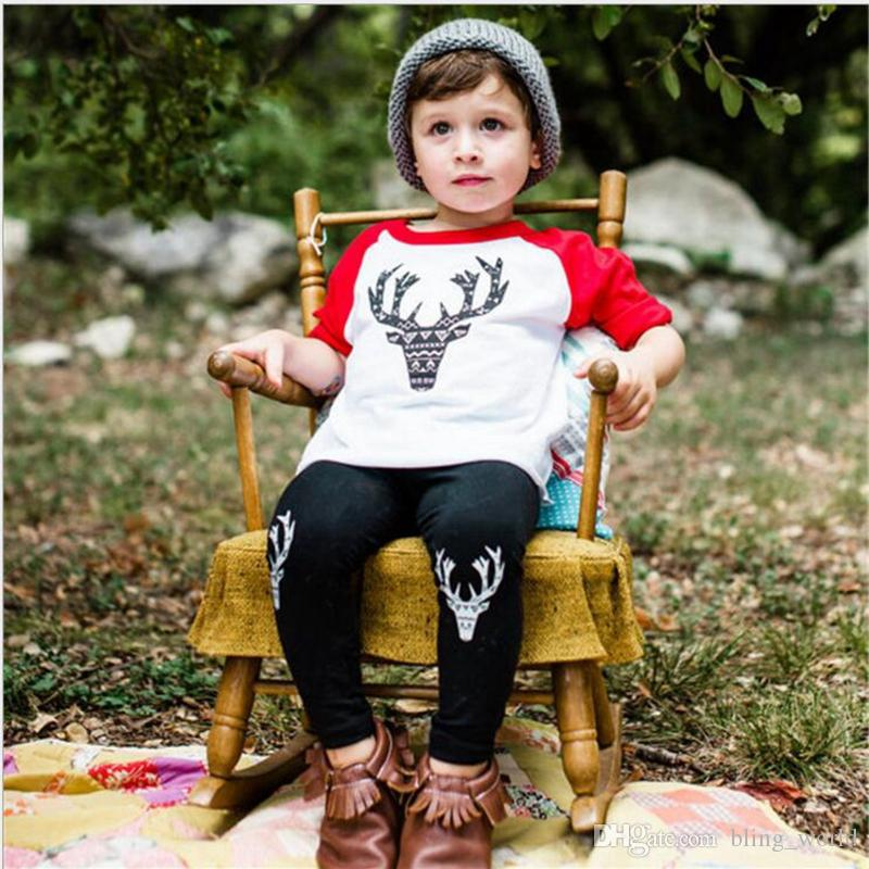 edefc9d7f 2019 Christmas Deer Print Clothes Set Baby Boys Elk Print Suits ...