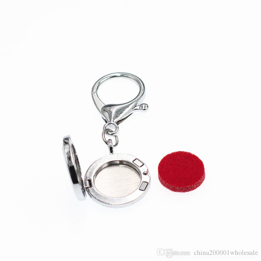 Live Love Dream Aroma Key Chain locket essential oil Locket Perfume Diffuser with Heart shape Lobster clasp Key ring Pads