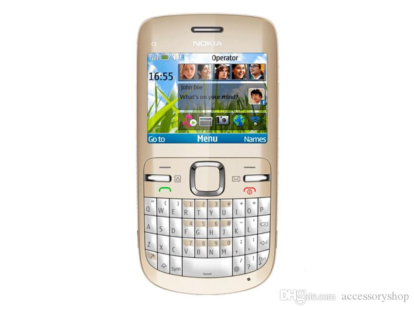 Refurbished Original Nokia C3-00 Unlocked Phone 2.4 inch Screen 2MP Camera Bluetooth FM JAVA 2G GSM Cheap Phone Free Post