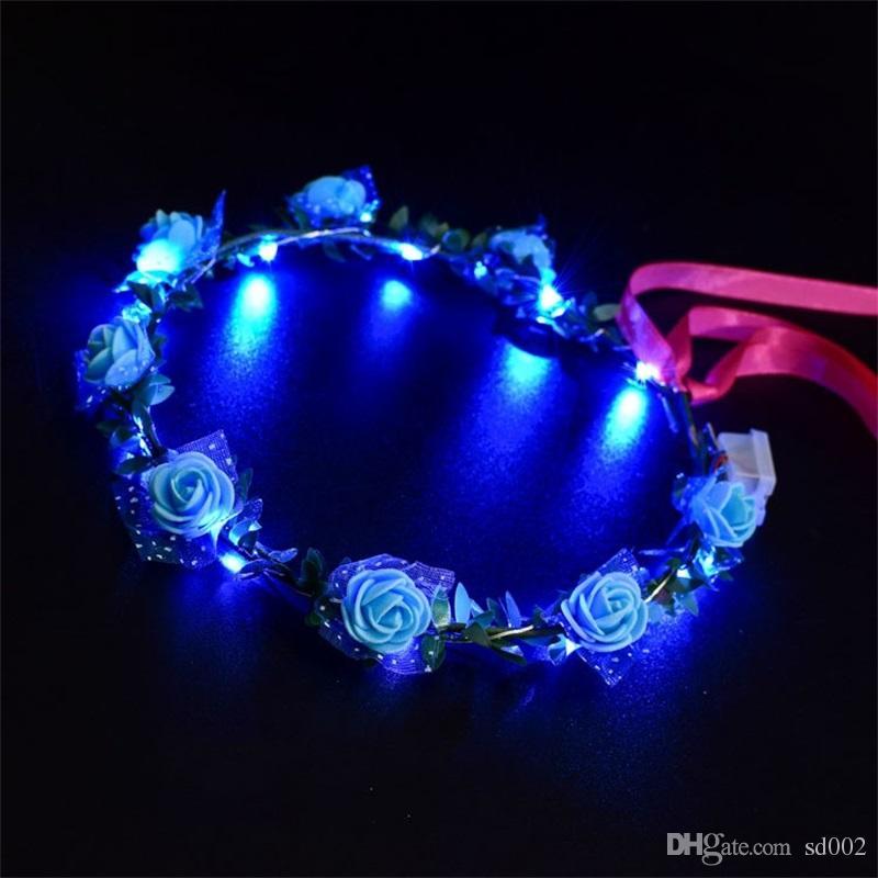 Yeni Stil LED Çiçek Çelenk Düğün Elbise Saç Garland Gelin Nedime Çiçek Taç Hawaii Sahil Tatil Dekor Aksesuarları 3jt YY