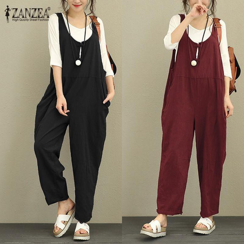 10b765ac275 2019 ZANZEA 2018 Retro Linen Rompers Pants Womens Vintage Jumpsuit Female  Backless Overalls Strapless Playsuit Women Pantalon Palazzo Y1891808 From  ...