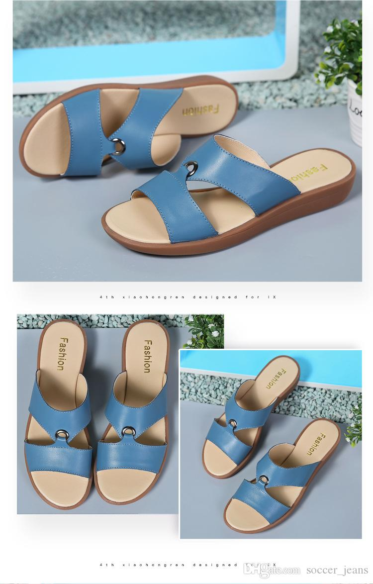 Top 2018 Summer leather Sandals and Slippers soft Bottom Non-slip leisure women sandals flat maternity mother shoes slippers