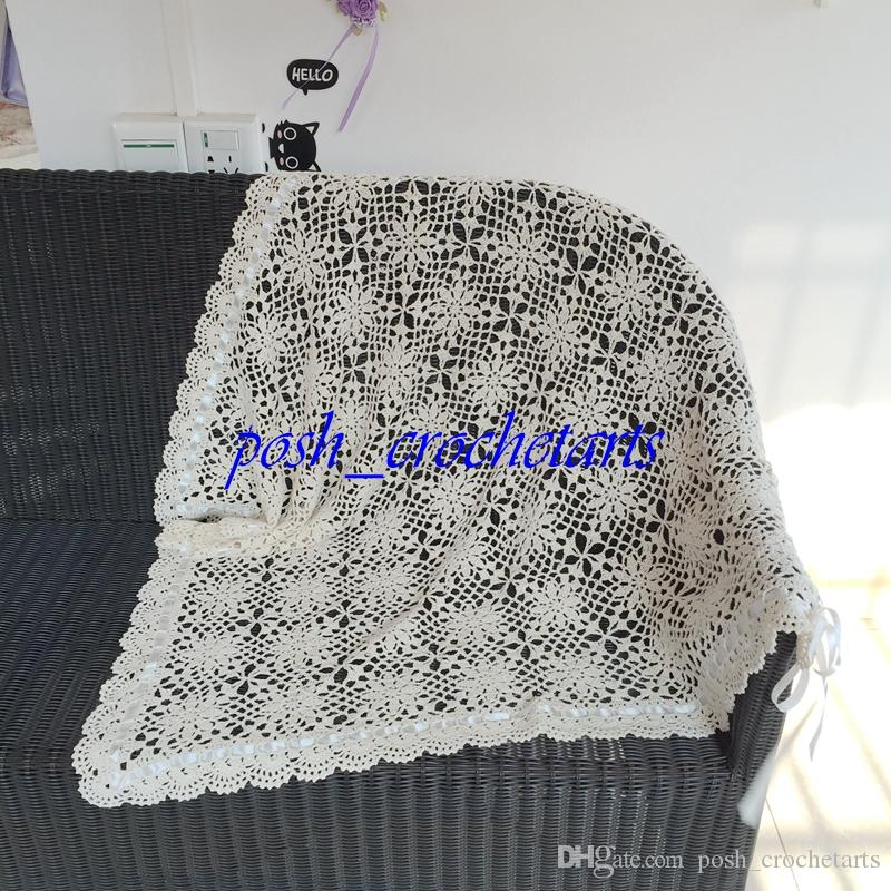 Crochet Baby Blanket Handmade Cotton Knitted Blankets for Newborn Baby Gifts Infants Nursery Bedding Floral Pattern Knitting Unique Present