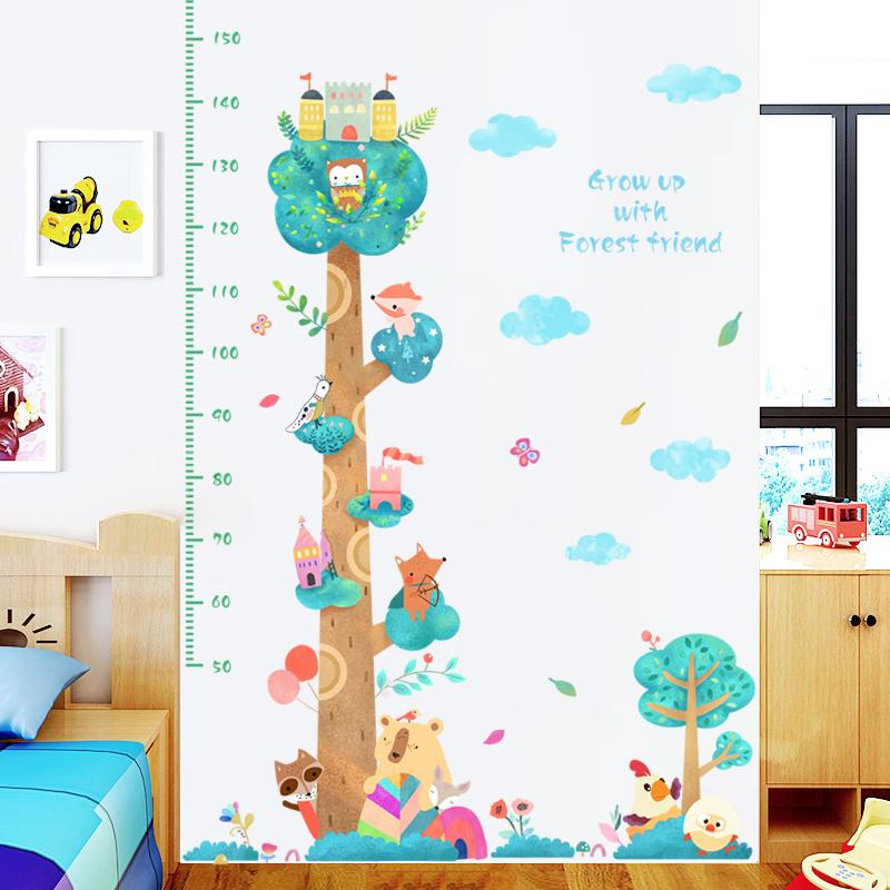 Forest Height Measure Wall Stickers For Kids Rooms Decor Cartoon Animals Wall  Decals Nursery Room Art Home Decor Wall Graphics Vinyl Wall Lettering Decals  ...