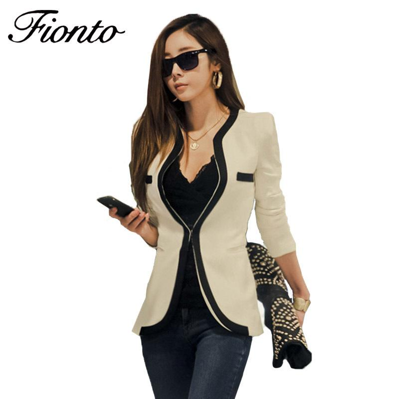 2ffb8b47d Compre Señoras Blazer Feminino Plus Size Formal Slim Splice Jacket Mujeres  Blaser Blanco Mujer Mujer Traje Oficina Damas 2018 Nuevo F2588 L18101303 A   24.76 ...