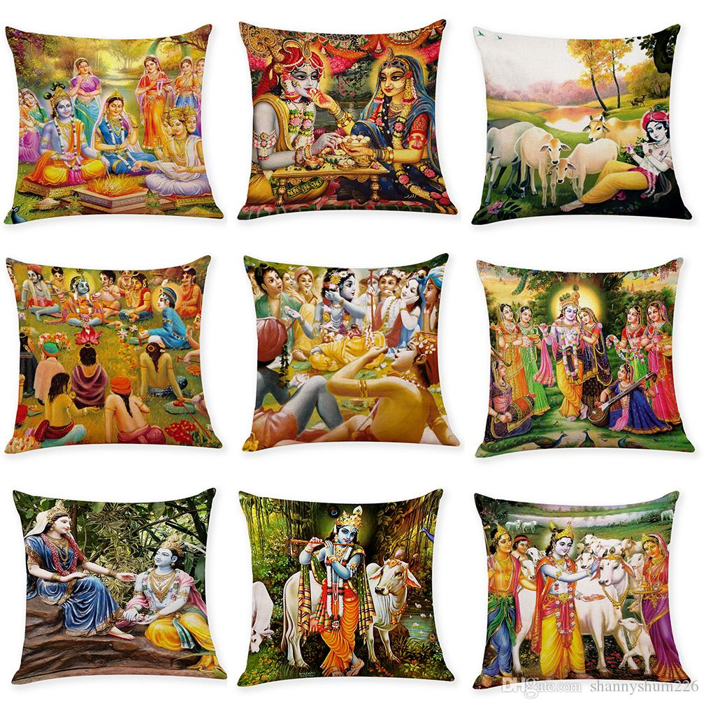 Indian Style Linen Cushion Covers Home Office Sofa Square Pillow