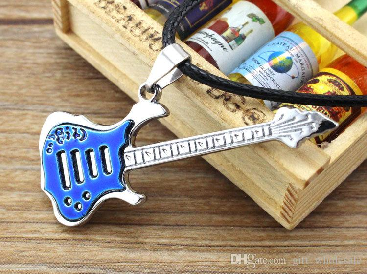 Upgrade Supply fashion black blue music guitar necklace Pendant Necklaces men's jewelry men necklaces Black wax rope chain mix Classic style