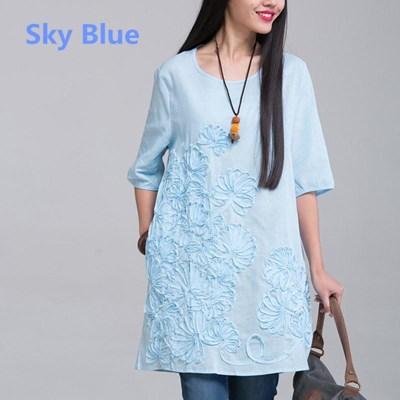 d6934966f73 2019 2017 New Spring Summer Pregnancy Clothing Plus Size O Neck Embroidered Maternity  Dresses Linen Clothes For Pregnant Women From Yuan0907
