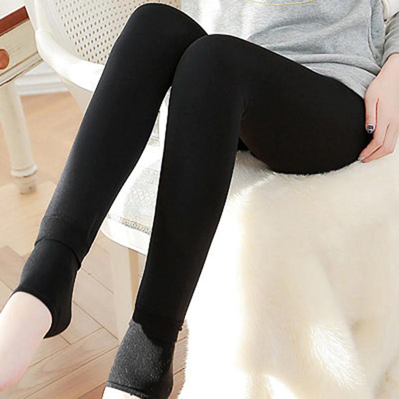 b745c432e64d64 Warm Autumn Winter Women's Winter Leggings Keep Warm Solid Pants ...