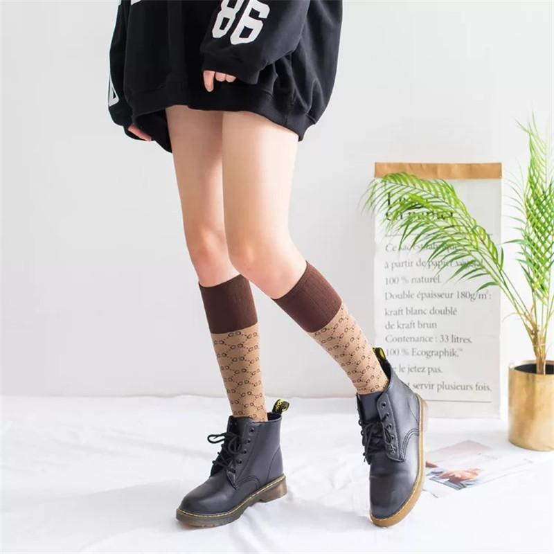 Calze ragazze adolescenti Moda Autunno Inverno Bambini Calze medie Calze di cotone di alta qualità lettera studenti di stile giapponese Calze calde 5C