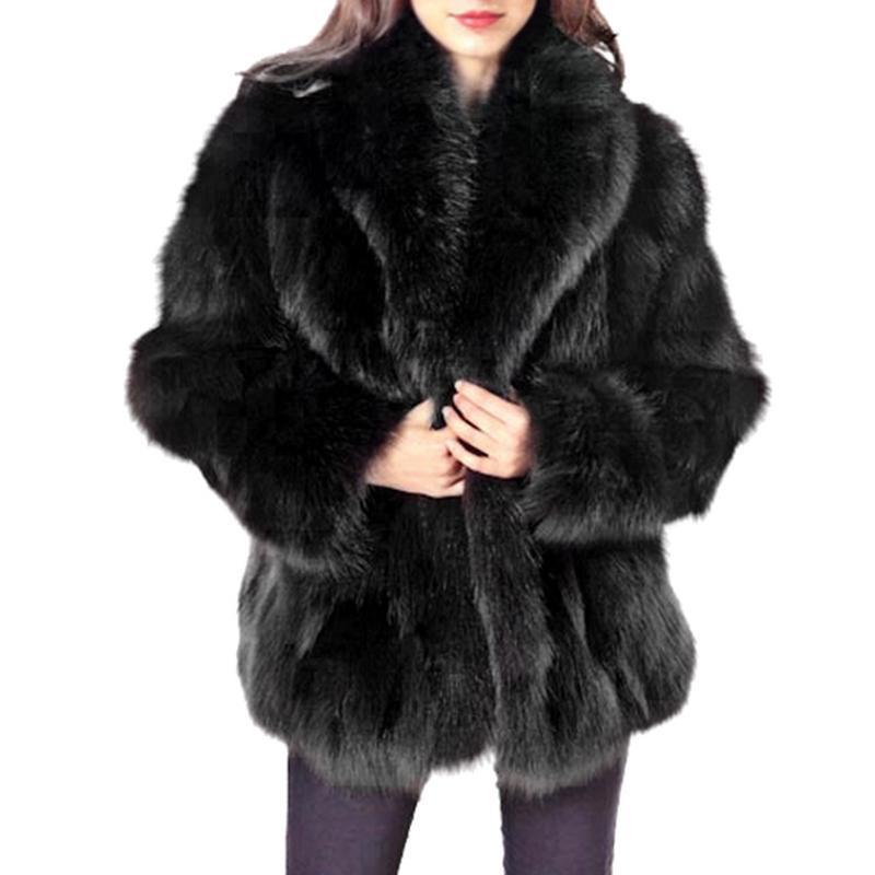 5eff930e75 2019 2018 New Winter Coat Women Faux Fox Fur Coat Plus Size Women Stand  Collar Long Sleeve Faux Fur Jacket Gilet Fourrure From Vanilla15, $73.3 |  DHgate.Com