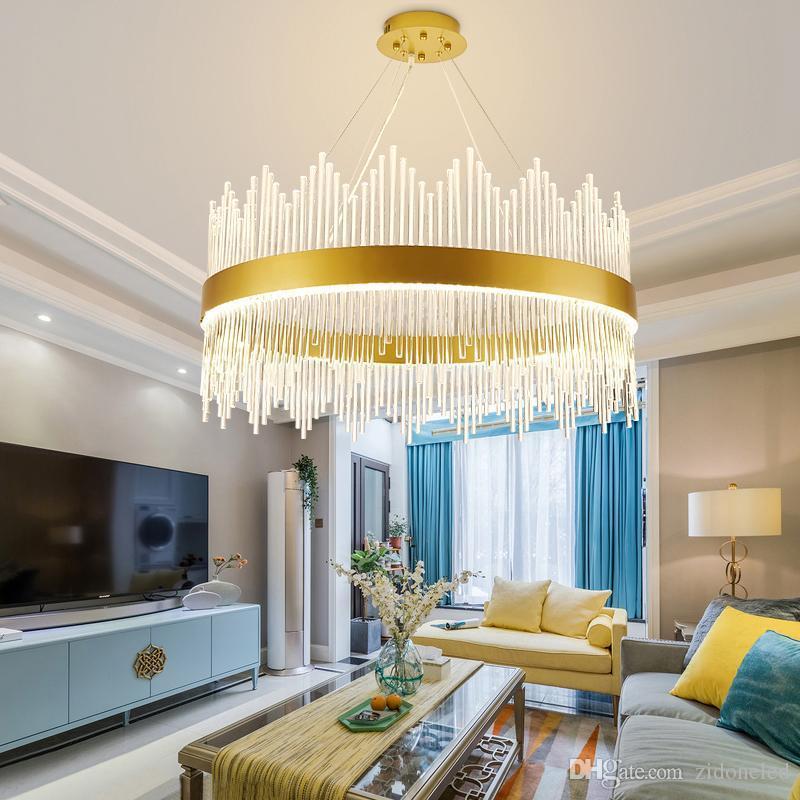 Modern Crystal Chandelier Round Pendant Light Luxury Dining Room Suspension Luminaire Home Decoration LED Hanglamp Lighting Fixture Cream Flower