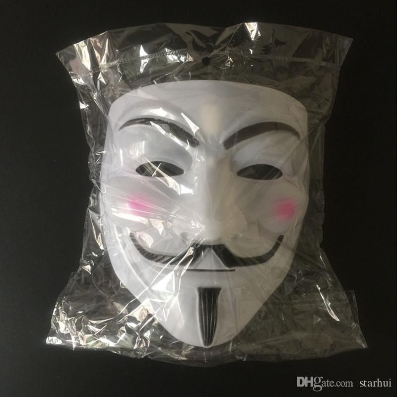 Maschera a V Maschere mascherata Vendetta Anonimo Palla di San Valentino Decorazione feste Faccia intera Halloween Scary Cosplay Maschera feste DHL libero WX9-391