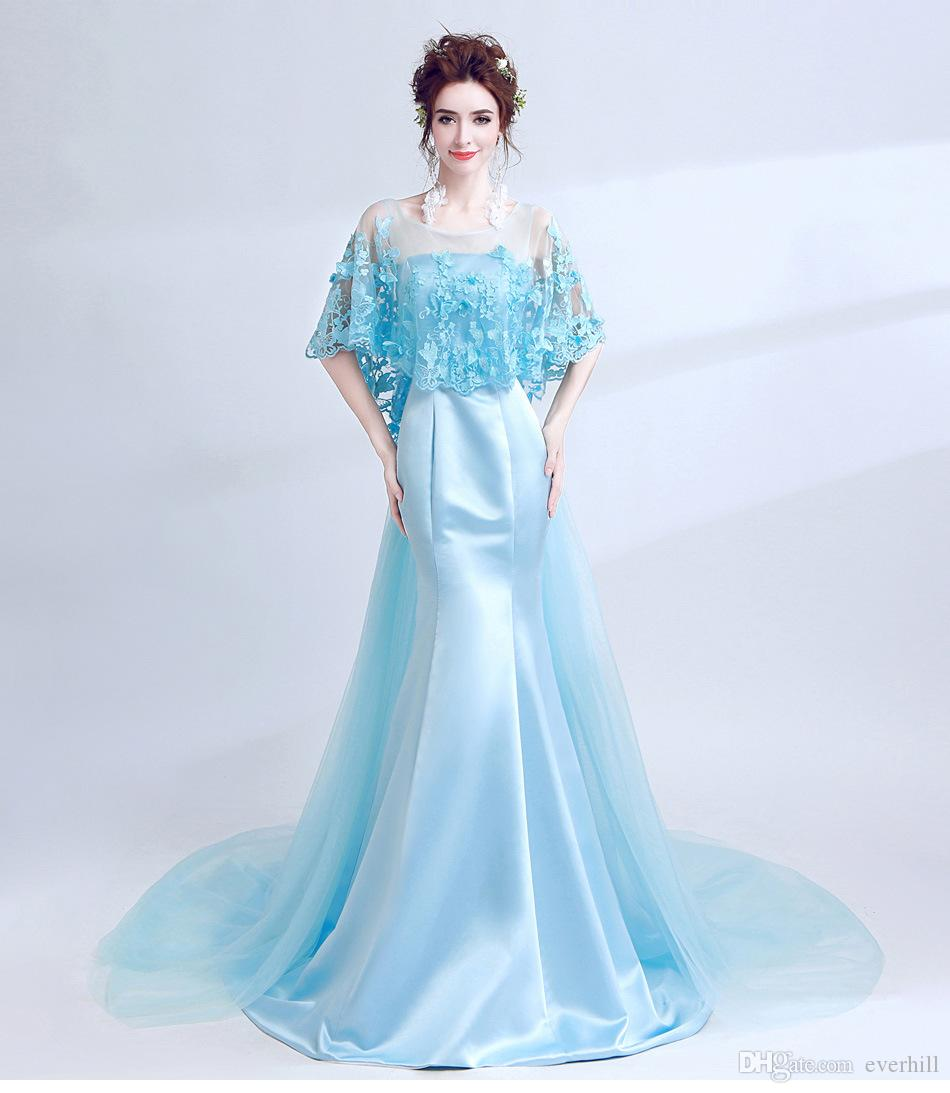 JaneVini Elegant Blue Butterfly Decoration Mermaid Prom Dresses Long Women evening gowns Short Wrap Satin Tulle Vestido Prom Formal Gowns
