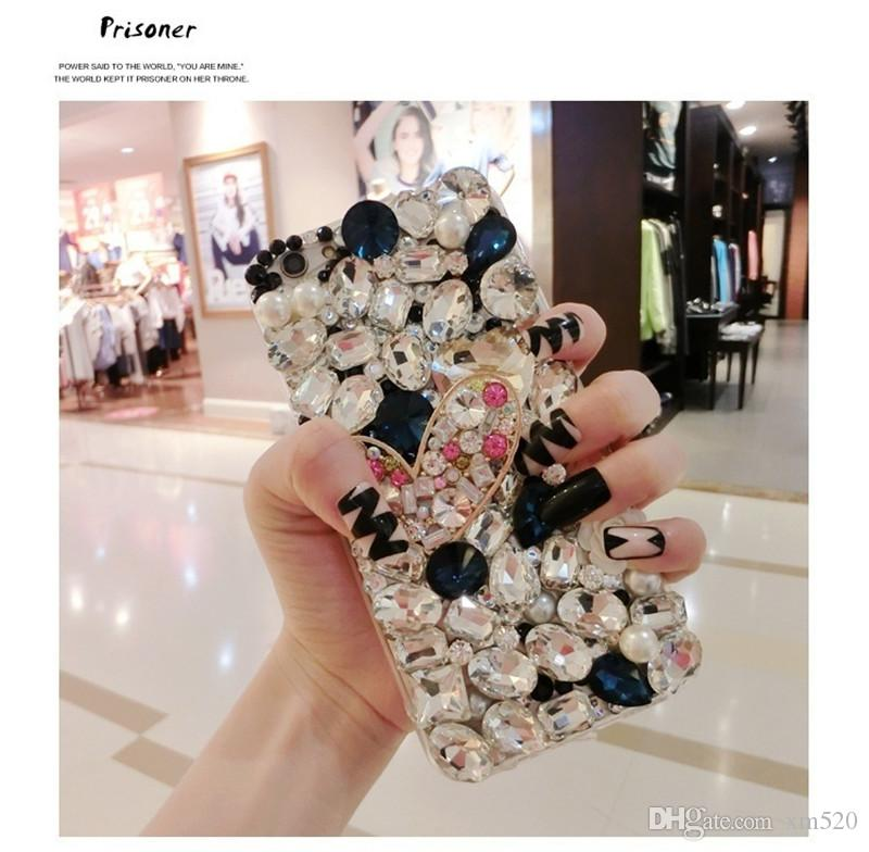 Luxury Love Heart Bling Rhinestone Diamond Case Colorful Crystal Handmade Cover for iphone/Samsung /Huawei /Xiaomi case