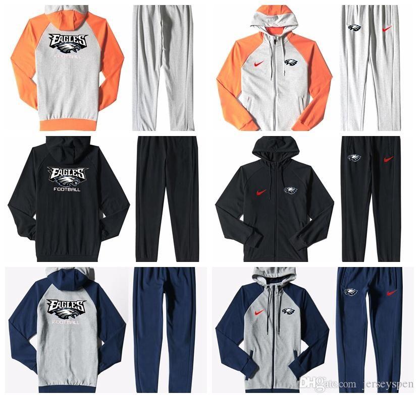 0012fe27 Philadelphia Eagles Men'S Print Full Zip Sports wear Men'S Sport Suit  Bodysuit Plus Pantsuit Blue Ash Black Orange white splicing