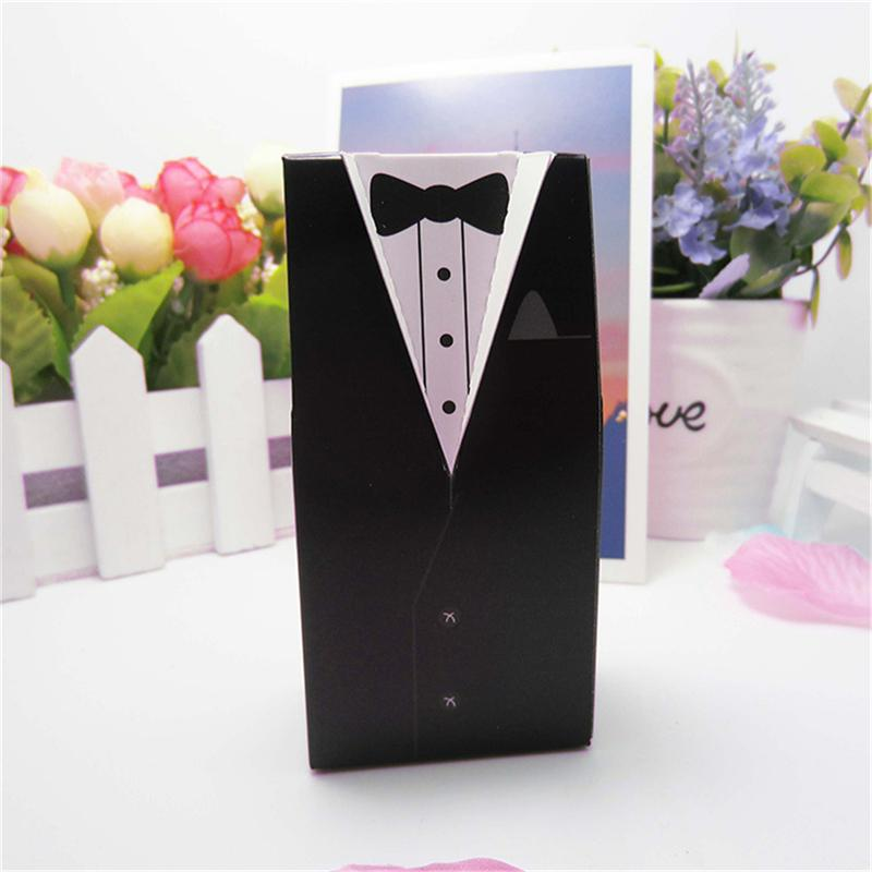 Tuxedo Dress Bride Groom Wedding Candy Boxes Wedding Party Favors Wedding Gifts Boxes Box With Ribbon Packaging Supplies