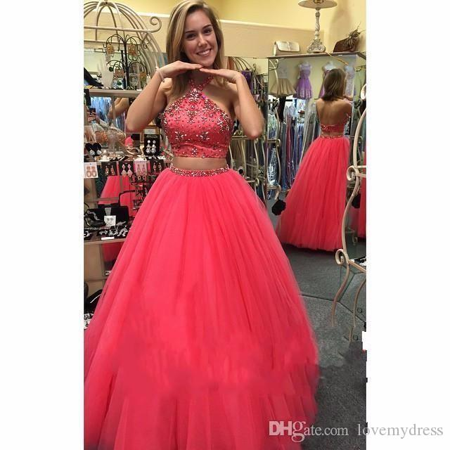 3d8b053a452 Fashion Halter Prom Dress Long 2018 Tulle Crystal Floor Length A Line  Princess Backless Evening Formal Dresses For Party Women Amazing Prom  Dresses Backless ...