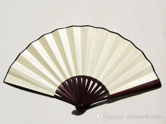 Пустой черный веер Большой Китайский бамбук шелк складной веер свадебный вентилятор программа для взрослых Изобразительное искусство живопись 1шт