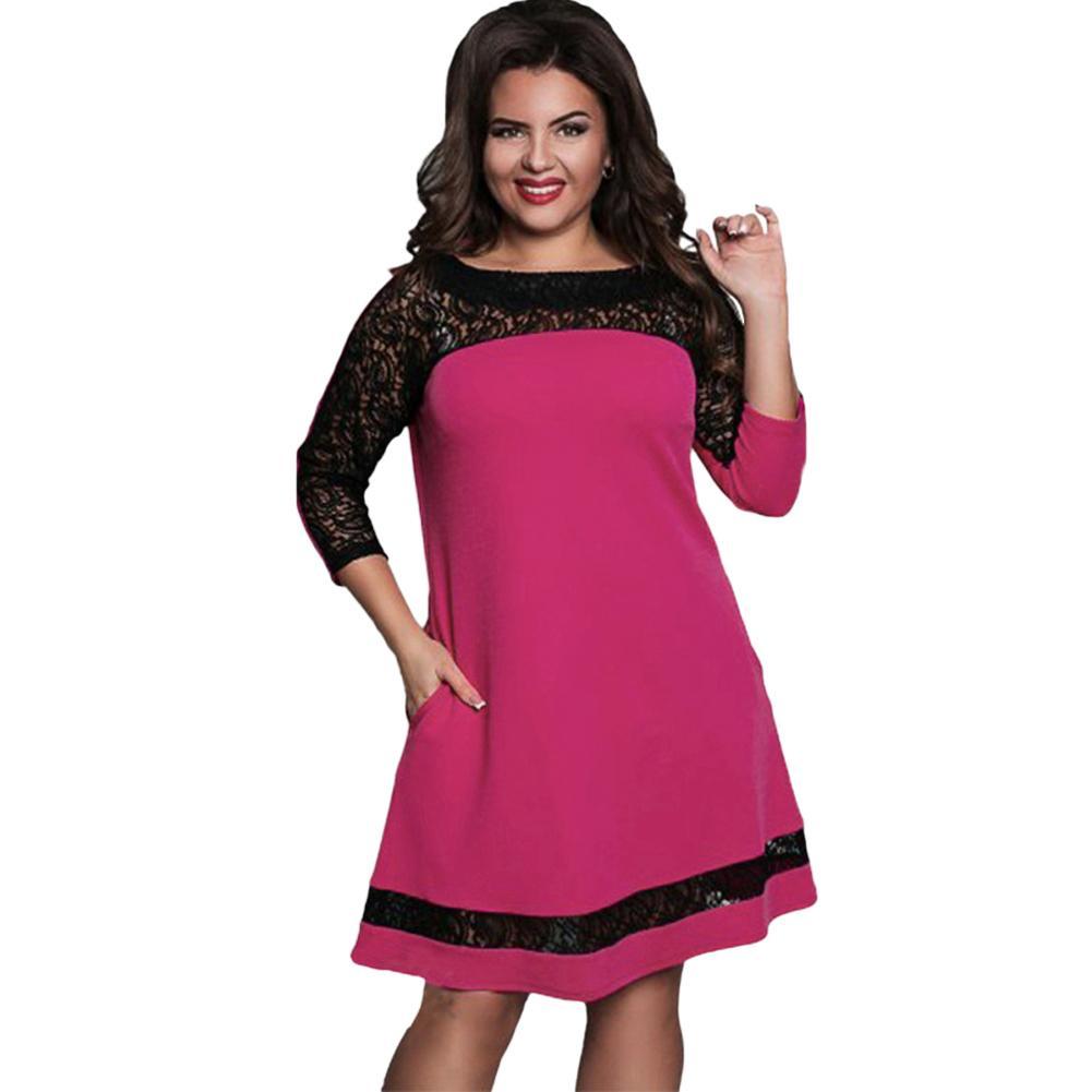 Women Plus Size Dress Semi Sheer Lace Mesh Splice Contrast Color ...
