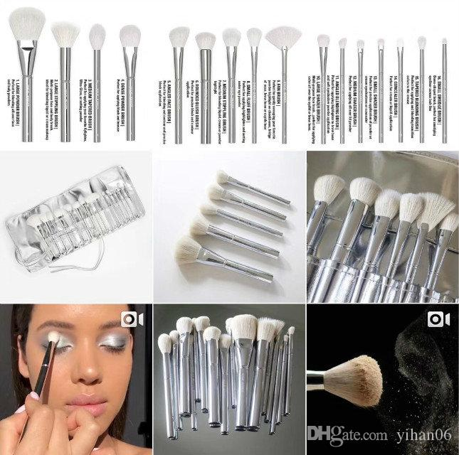 kylie Jenner Silver Tube Brush set Makeup Brushe Jenner Silver Tube Brush set with bag Makeup Brushes for Valentine's Day Gifts