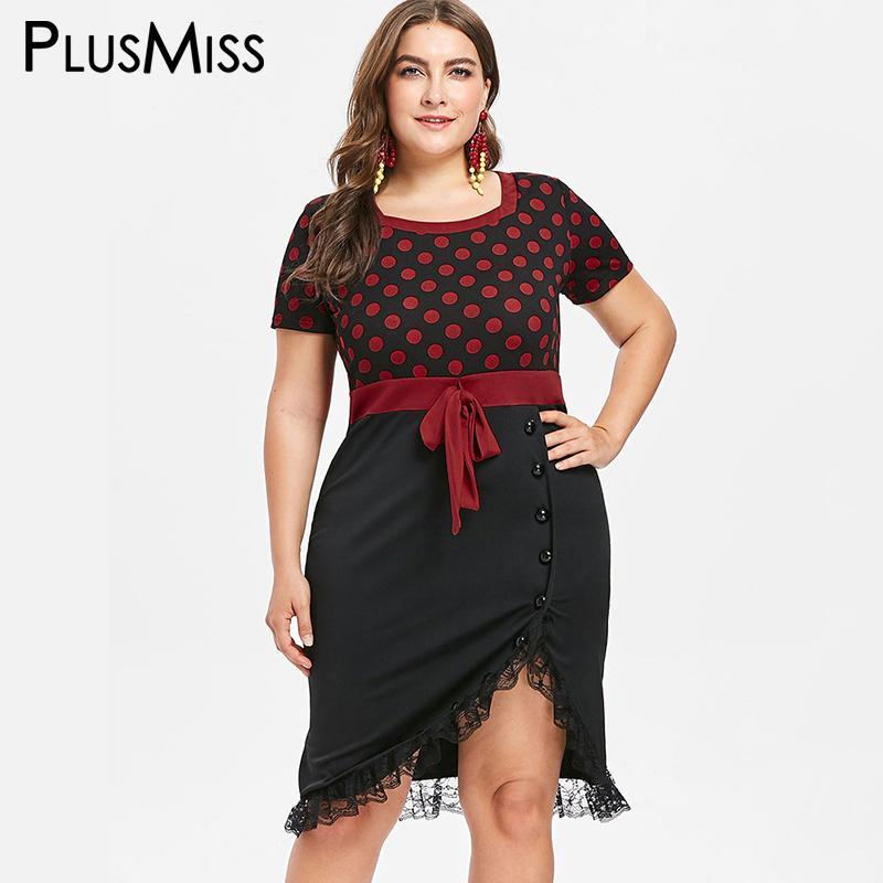 Plusmiss Plus Size 5xl Xxxxl Xxxl Red Polka Dot Lace Hem Dress Women