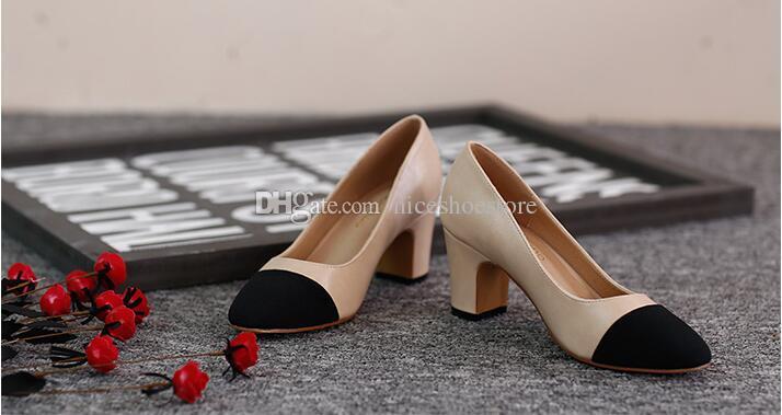 Femmes Designer Beige Gris Noir Deux Tons Cuir Daim Slingback Talons Pompes Sandale Mocassins Sandales Femmes Taille 34-41 2CM 2.5CM Talon 6Cm