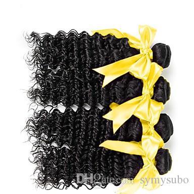 Reine Farbe Deep Wave Brasilianisches Reines Haar Bundles 100% Menschenhaarverlängerungen 1 Stück / 100g 6A Unverarbeitete Doppelschuss