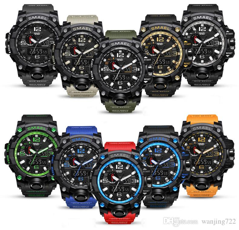 SMAEL Marka Erkekler Spor Saatleri Çift Ekran Analog Dijital LED Elektronik Kuvars Saatı Su Geçirmez Yüzme Askeri Bilek İzle