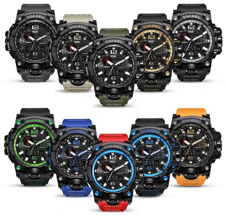 SMAEL бренд Мужские спортивные часы двойной дисплей аналоговые цифровые светодиодные электронные кварцевые наручные часы водонепроницаемый плавание военные наручные часы
