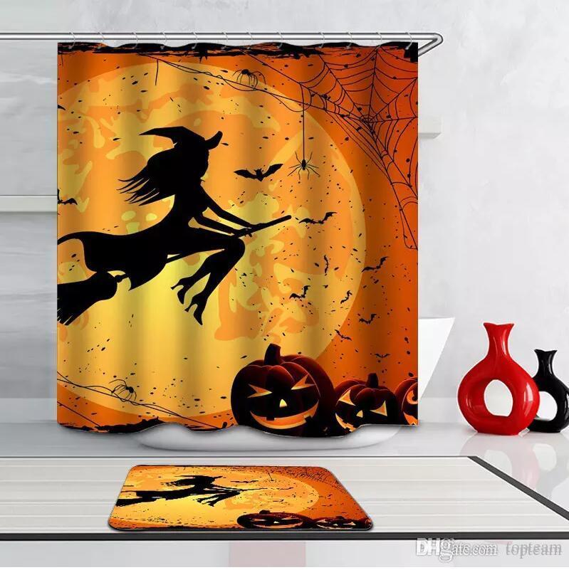 2019 Halloween 3D 165180CM Shower Curtains 6 Designs Pumpkin Castle Cat Witch Curtain The Mat DHL From Topteam 1408