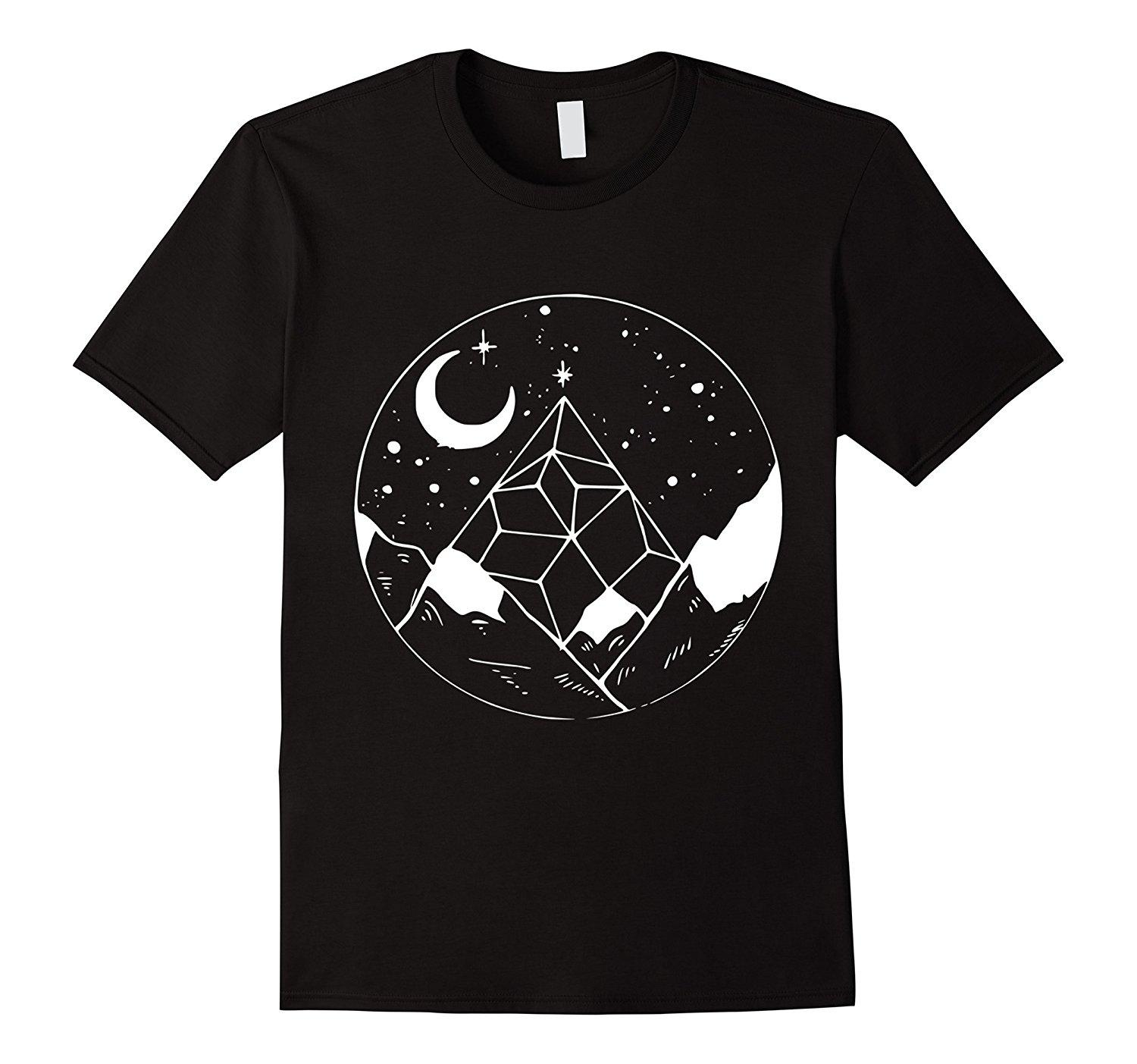 Stars Moon Mountain Landscape Geometric T Shirt Quirky T Shirt