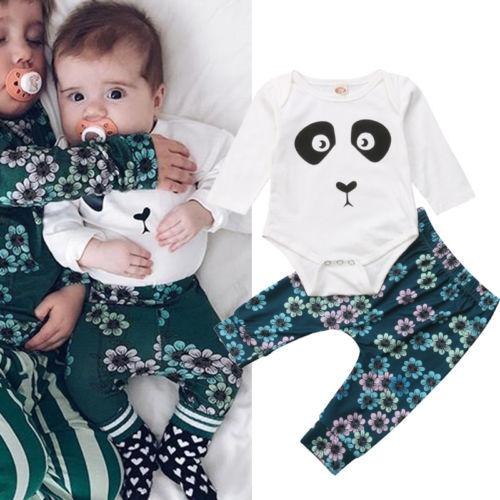 e79f9019a94e 2018 Autumn Flower Newborn Baby Boy Cartoon Panda Bodysuit Tops ...
