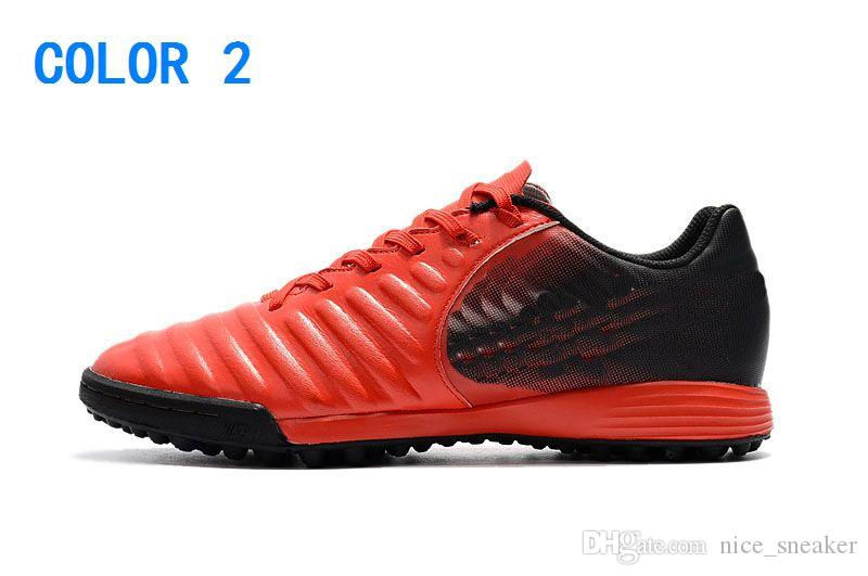 2018 New Cheap Hot Black Red Soccer Cleats Tiempo Legend VII TF Indoor Soccer Shoes Low Tiempo Ligera TF Turf Mens ACC Football Boots Shoes