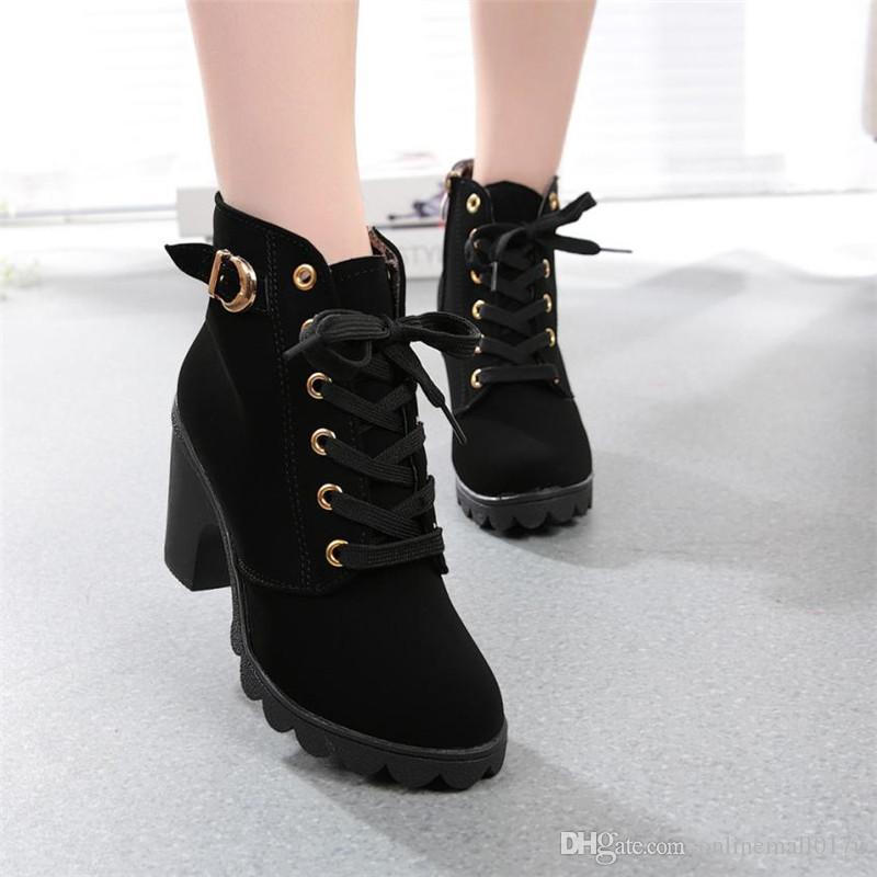 7fe69a3dabb7a Compre Botas Para Mujer Moda De Tacón Alto Con Cordones Botines Para Mujer  Zapatos De Plataforma De Hebilla Botas De Invierno Mujeres Botas Ug  Australia ...