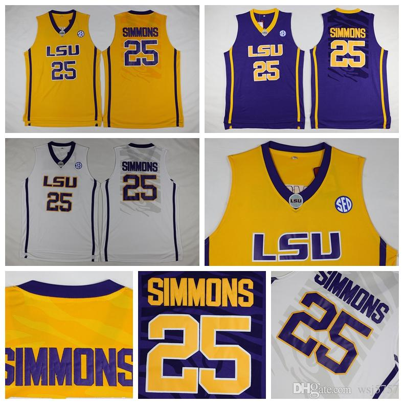 e0afc81a2ff ... online cheap mens lsu tigers 25 ben simmons jersey yellow purple white  college ben simmons stitched