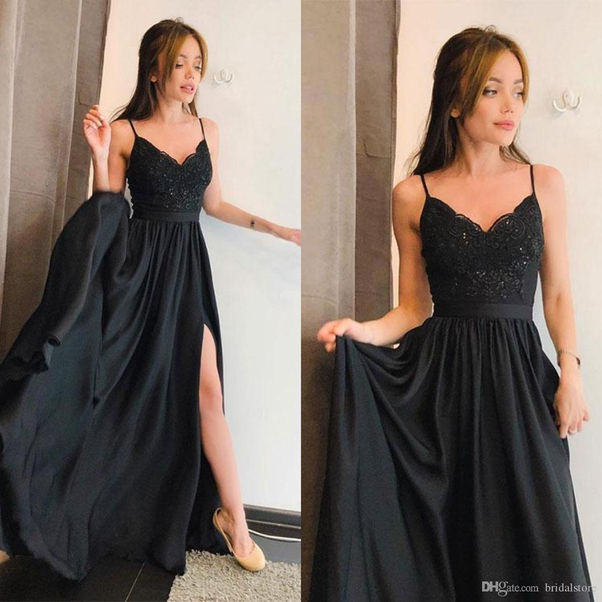 3760f5a7019b7 Simple Black Evening Dresses Straps Lace Summer Long Prom Dresses For Teens  Petite Chiffon Robes formelles soirée party 2019 With Slit Gown