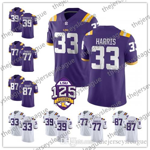 sports shoes 63a46 426ac LSU Tigers #33 Jamal Adams 77 Saahdiq Charles 80 Jarvis Landry 81 Racey  McMath Purple White Yellow Stitched NCAA College Football Jerseys