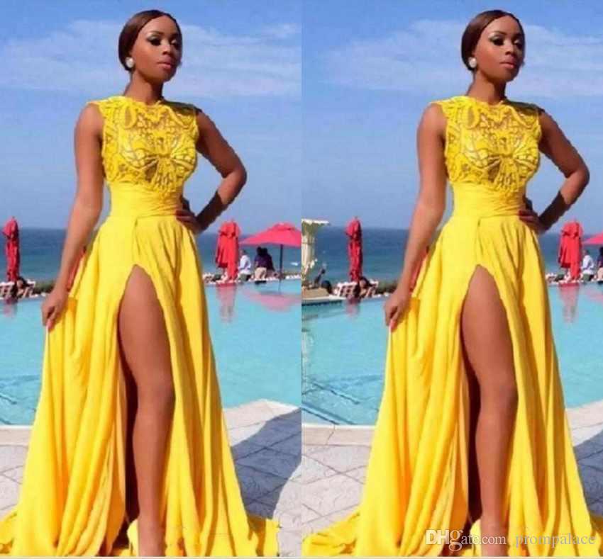 Bright Color A Line Prom Dresses Side Split Chiffon Lace Appliques