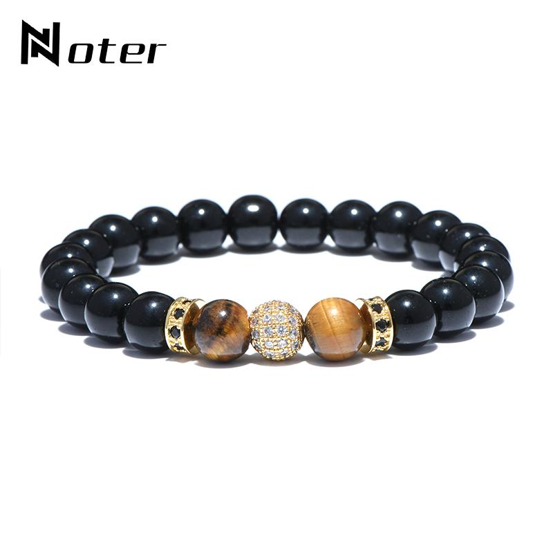 Minimalist Tiger Eyes Stone Beads Bracelet Luxury Round Shambhala Zirconia Braclets For Men Women Party Jewelry Bijoux Femme